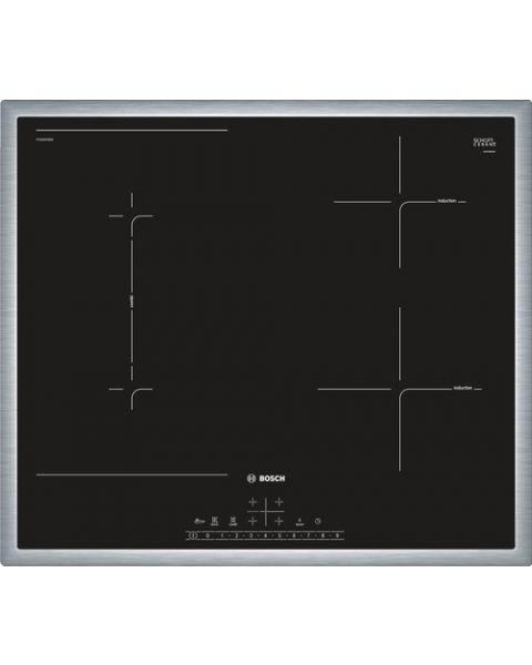 Bosch Serie 6 PVS645FB5E piano cottura Nero, Acciaio inossidabile Da incasso 60 cm Piano cottura a induzione 4 Fornello(i)
